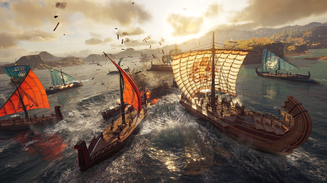 Screenshot of naval combat in Assassin's Creed: Odyssey