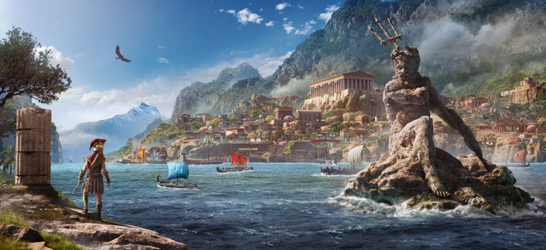 Game art showing the character with a statue of Poseidon, a sprawling city and a mountain