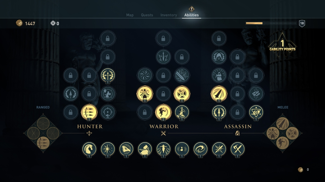 Screenshot of the Assassin's Creed: Odyssey skill tree