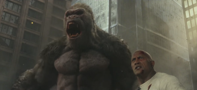 A giant gorilla and The Rock