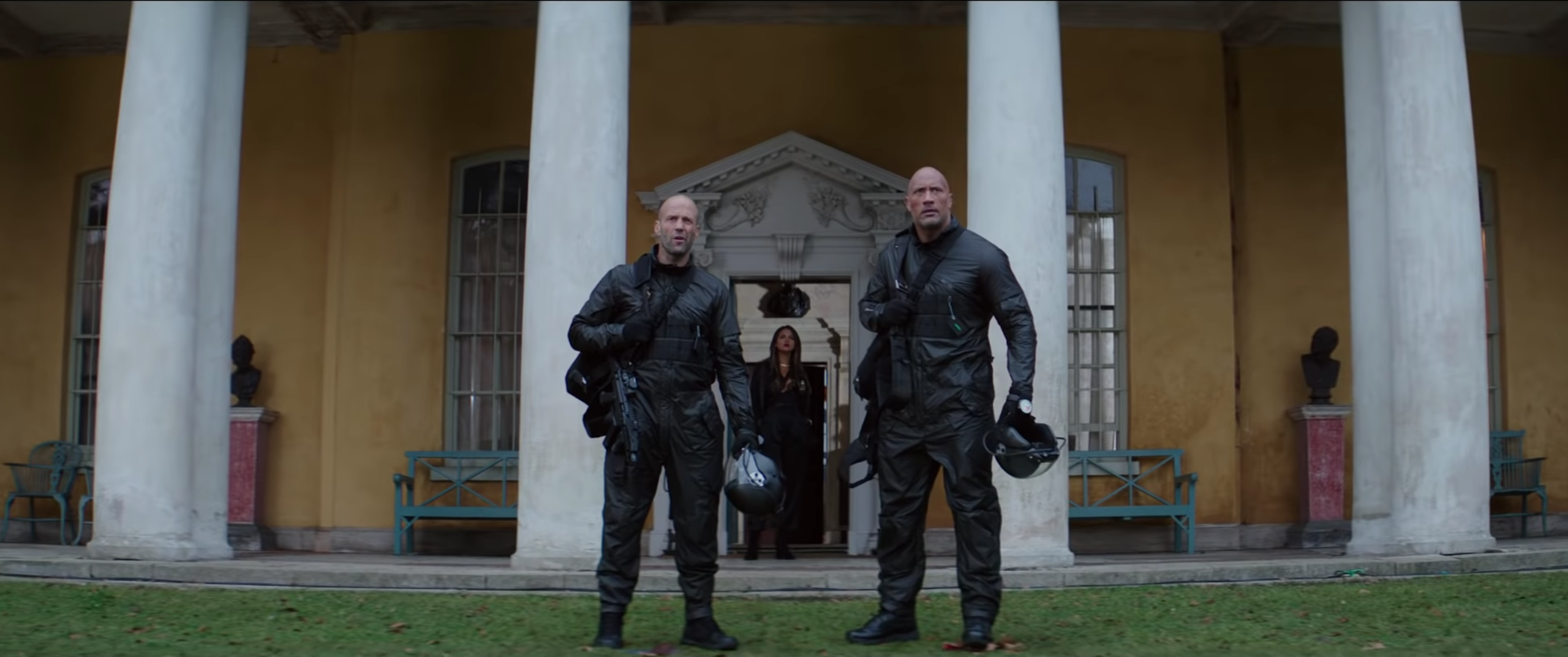 Jason Statham and The Rock in flight suits