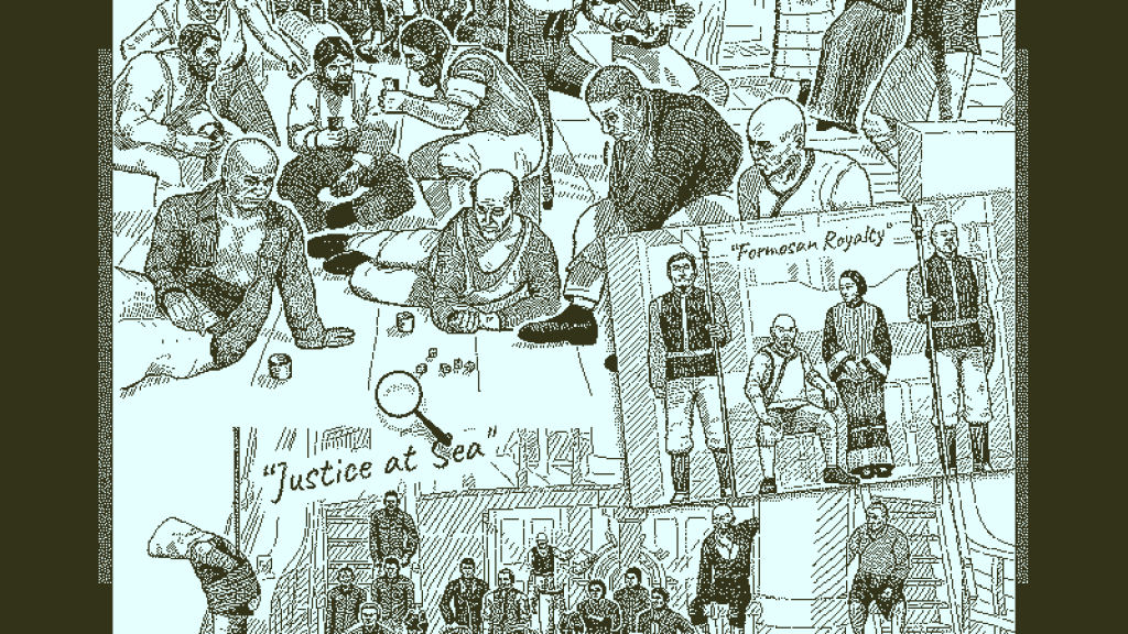 Sketches showing people aboard the Obra Dinn
