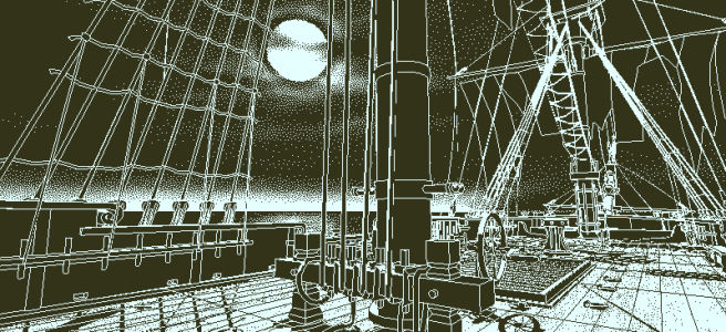 Screenshot from Return of the Obra Dinn, showing the ship's main deck in moonlight