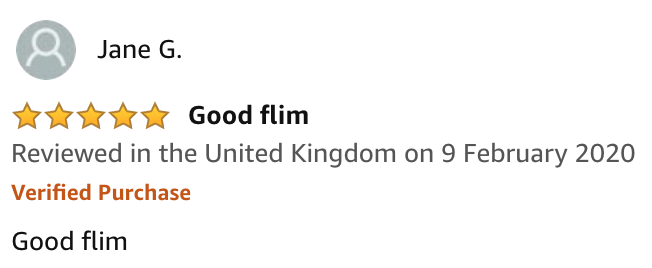 Screenshot of an Amazon review from Jane G. which says 'Good flim'