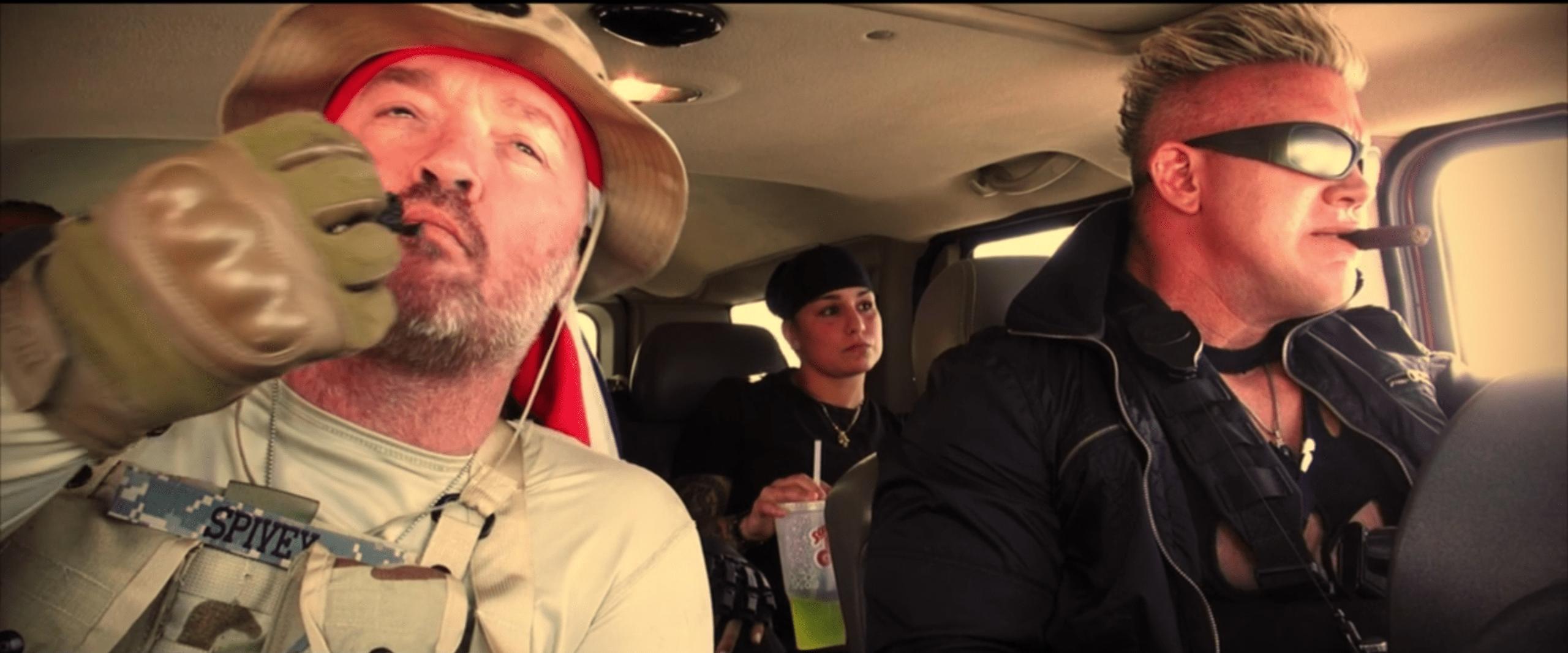 The commandos inside their car