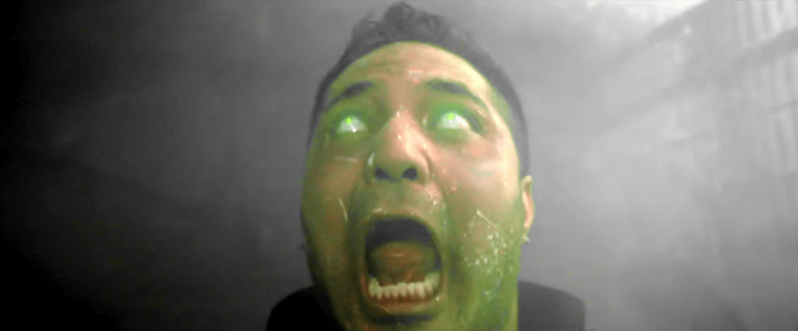 A screaming zombie commando