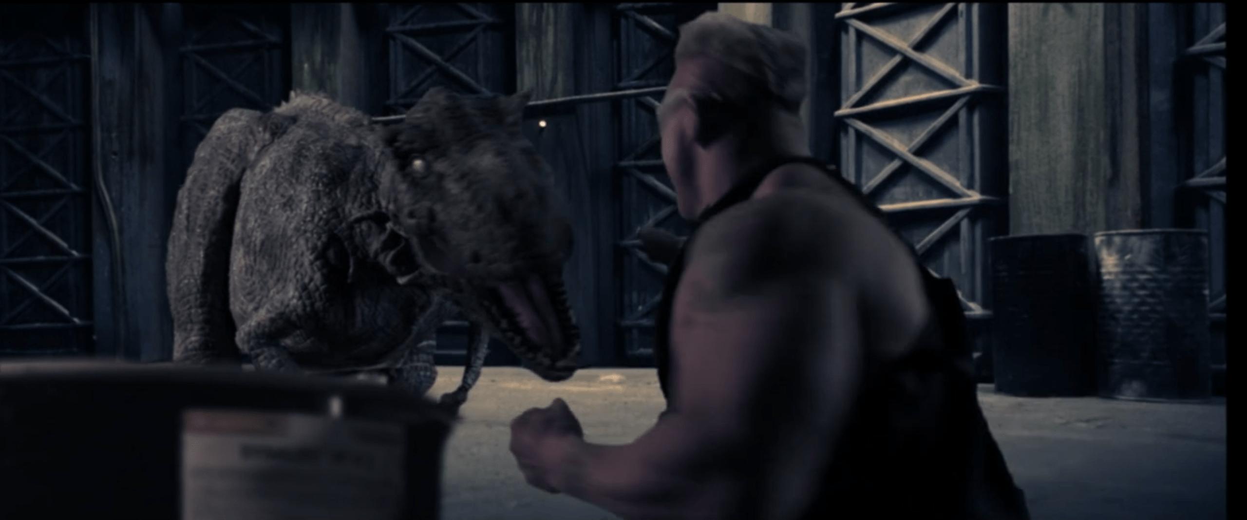 Duke Nukem preparing to punch Zombiesaurus