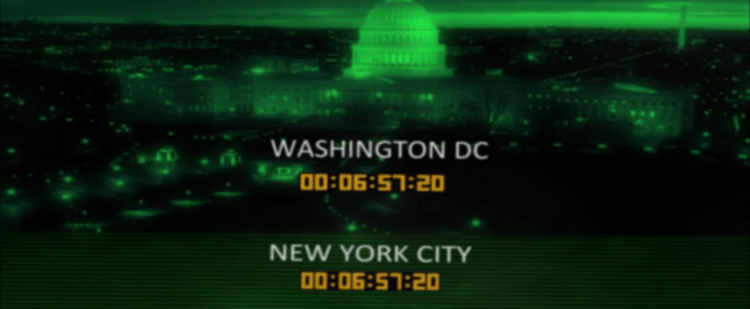 Screen showing countodwns labelled Washington DC and New York City