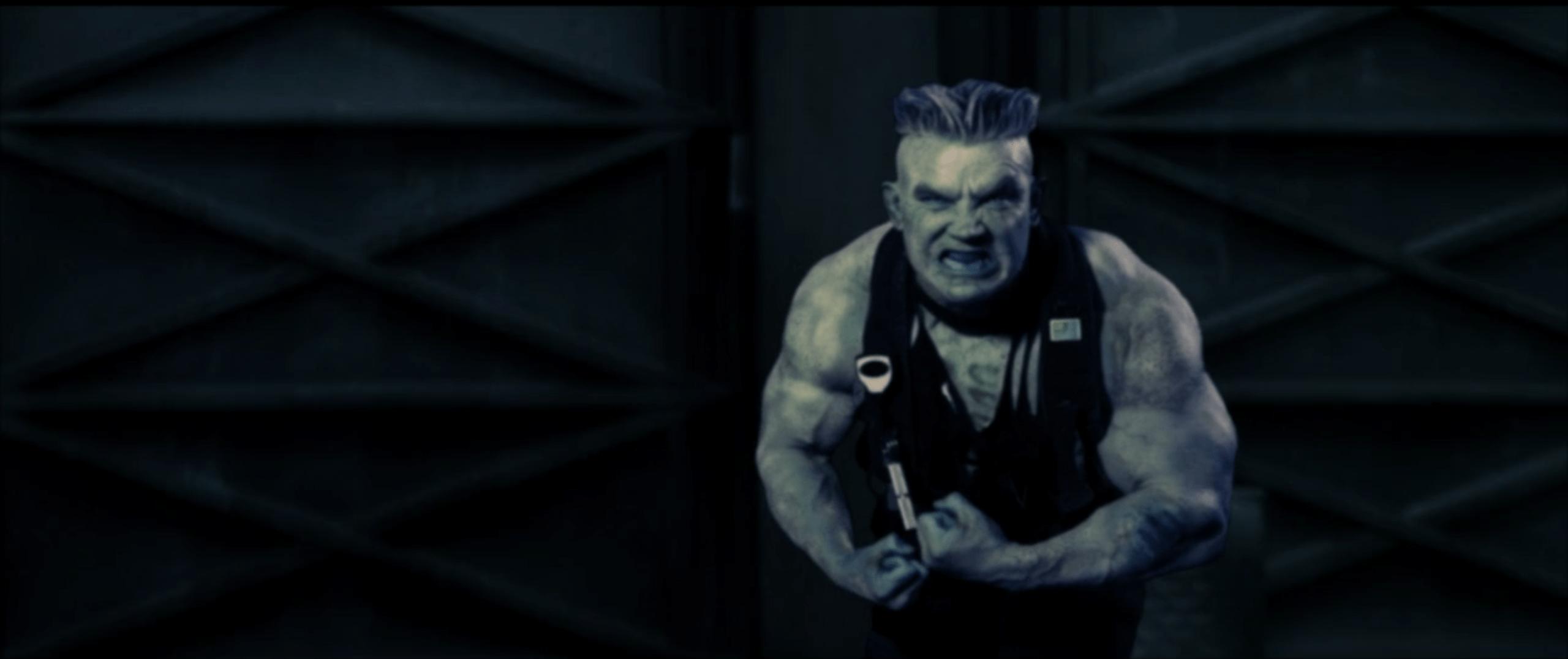 Zombie Duke Nukem flexing his muscles