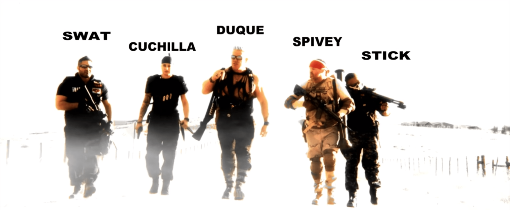 Commandos walking in slow-motion with the names Swat, Cuchilla, Duque, Spivey and Stick